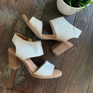 TOMS Majorca Cutout Block Heel Sandals 7 EUC